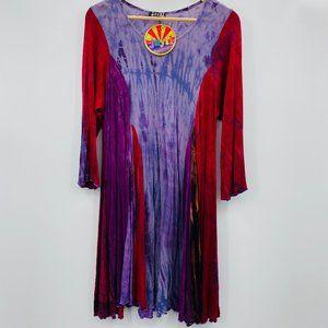 Jayli Tie Dye Bohemian Boho Knit Rayon Dress XL